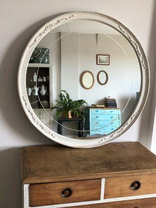 Espejo redondo blanco 86 cm diametro