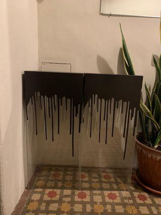 2 muebles acrilico ploteados usados para bar