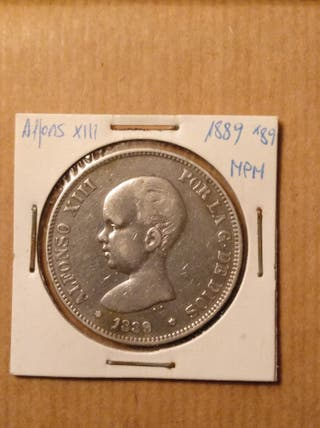 moneda 5 ptas Alfonso XIII 1888 MPM