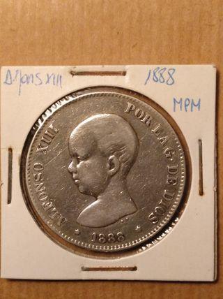 moneda 5 Ptas Alfonso XIII 1989*89 MPM