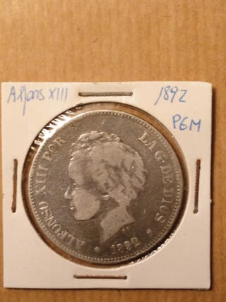 moneda 5 ptas Alfonso XIII 1892 PGM