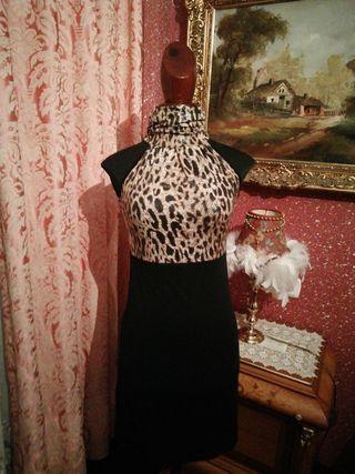 Vestido NUEVO talla S leopardo falda camiseta