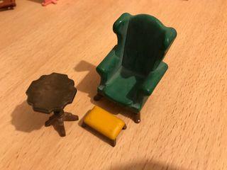 Playmobil lote sillón verde, mesa y banco