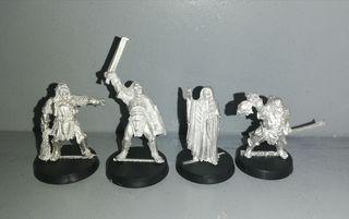 4 figuras de plomo del señor de los anillos
