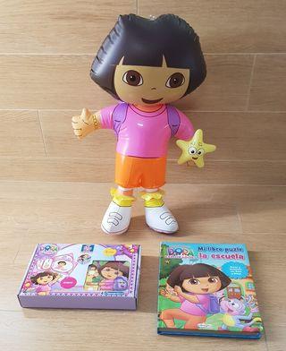 Lote Dora Explor: juego + libro + REGALO hinchable