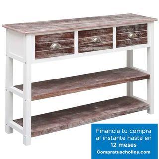 Aparador de madera marrón envejecido 115x30x76 cm