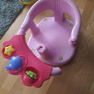 Asiento Soporte para bañera bebe rosa.
