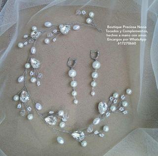 Largos pendientes + Tiara de novia tocado joyas