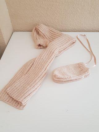 Conjunto gorro- bufanda y manoplas bebé 6-12 m