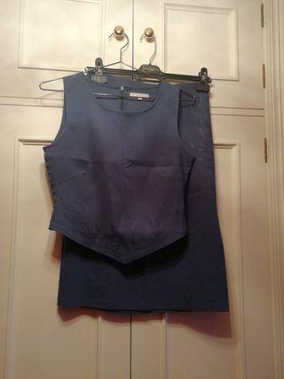 traje conjunto talla S falda corset camiseta