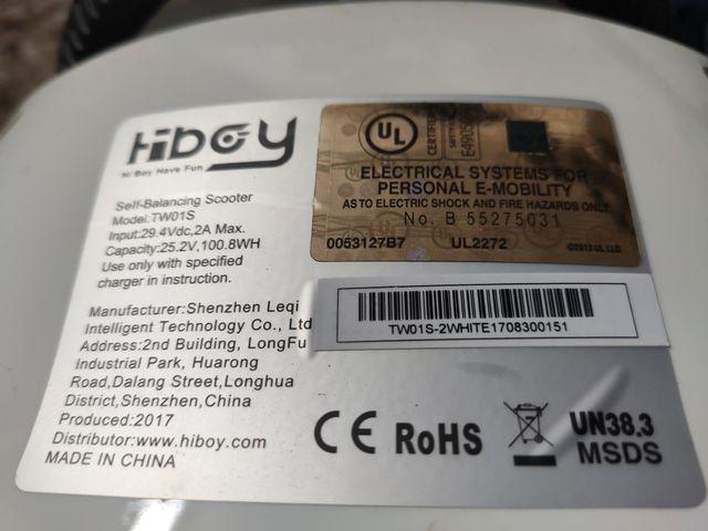 Hoverboard hiboy TW01S con garantía casi nuevo