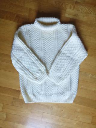 Jersey lana marfil a mano