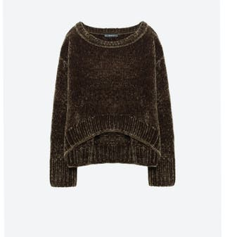 Suéter jerséy ZARA verde oscuro velour chenilla