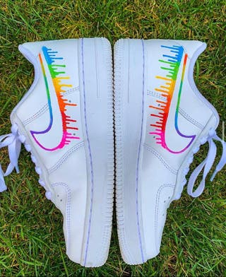 CUSTOM AIRFORCE 1 -RAINBOW OUTLINE DRIP EFFECT