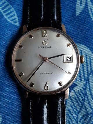 antiguo reloj cuerda CERTINA CERTIDATE chapado oro