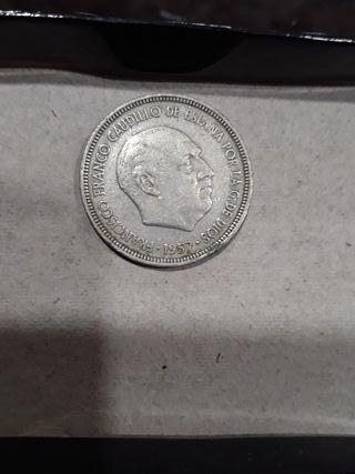 moneda 5 pesetas 1957