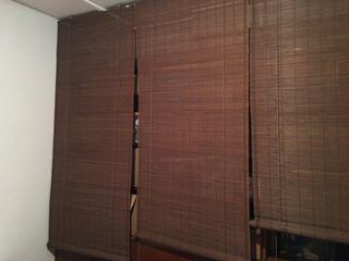 4 estores enrollables de bambú 90x230