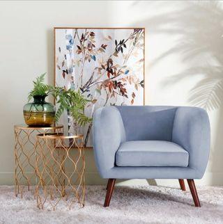 Sillon Butaca Diseño Nórdico Terciopelo Azul