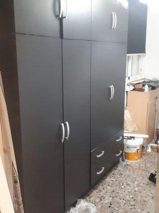 armario 4 puertas 2 cajones y altillo color wengue