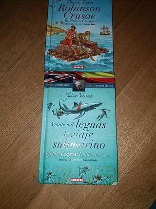 2 libros novela clásica juvenil bilingüe esp-ingle