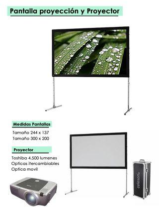 Equipo de proyector y pantalla
