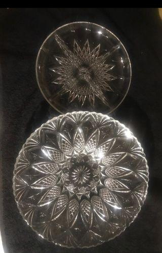 Centro de cristal y plato aperitivos