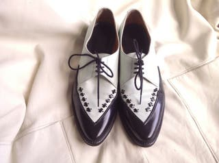 Black and white leather Shoes UK6