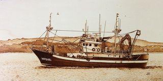 Barco pesquero pirograbado.