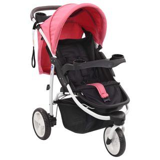 Cochecito Silla de paseo de 3 ruedas rosa y negro