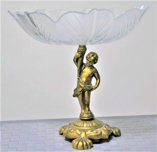 Frutero grande vintage bronce/cristal