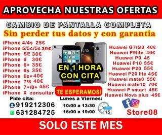 Cambiar pantalla iPhone 6s, 6,7,8,xs huawei p9 p20