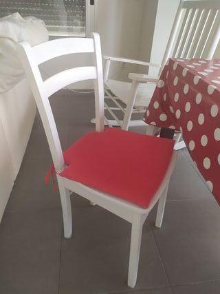 4 sillas madera blancas