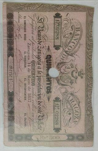 500 reales de Vellón 1857 Zaragoza