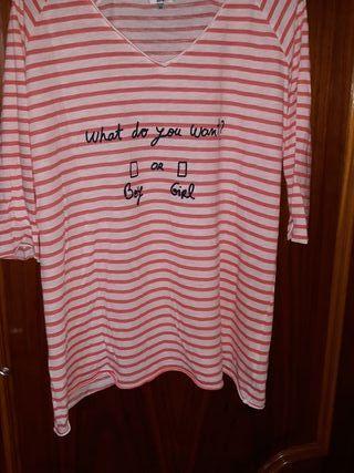 2 camiseta manga larga premamá y 1 sobrepuesta