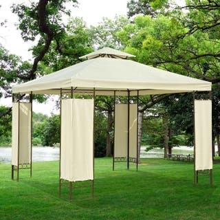 Carpa 3x3m Color Crema Estructura Metal Gazebo Cen