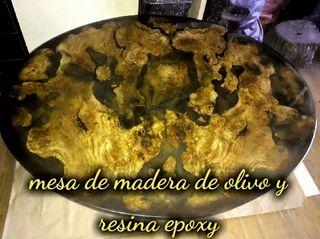 Mesa de Centro de Salon * olivo y resina epoxy
