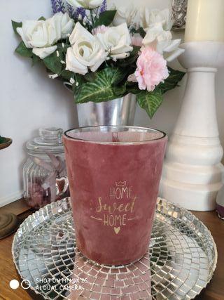 vela grande en vaso cristal Velvet nueva