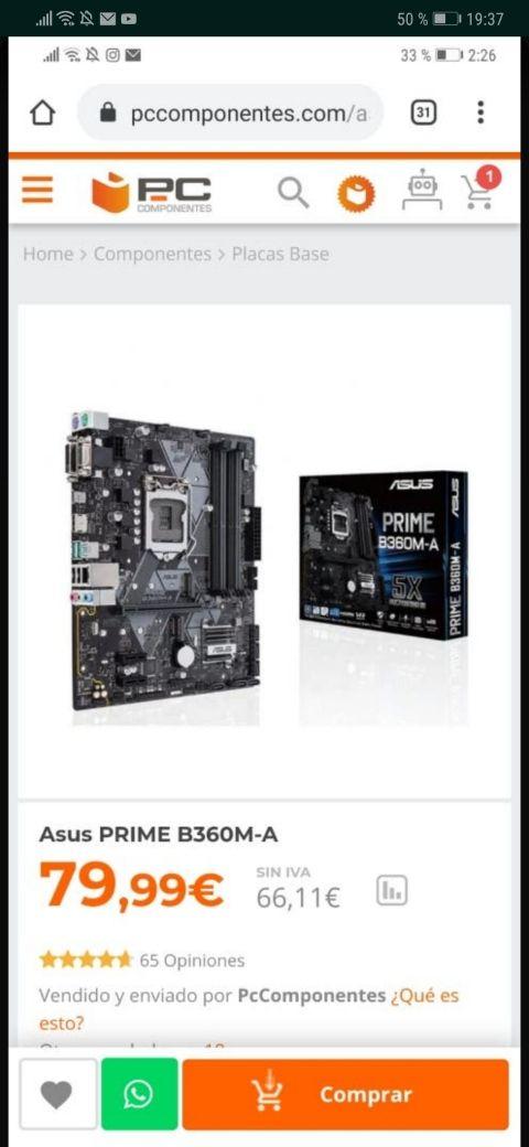 Procesador I5 8400 + placa base asus PRIM b360m-a
