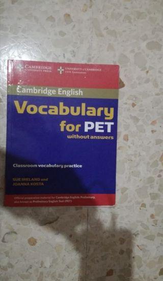 Libro de Inglés, Vocabulary for Pet