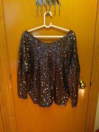 Jersey oversize de lentejuelas Zara