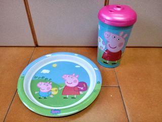 plato y vaso peppa pig