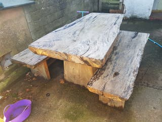 Timber slab table and benches