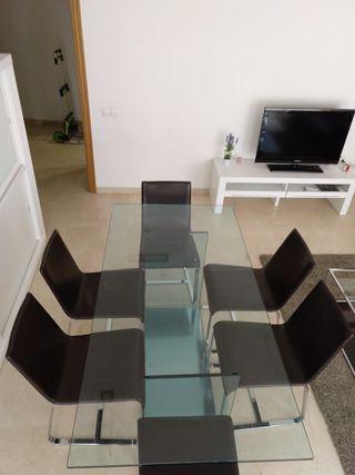 Mesa de cristal comedor + 6 sillas de polipiel