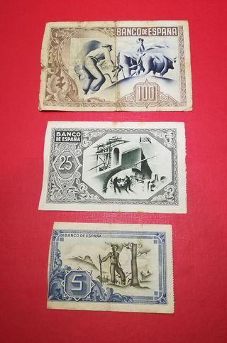 5, 25, 100 pesetas de Bilbao Originales colección