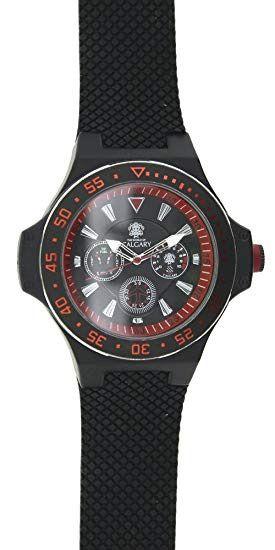 Reloj Calgary Negro con detalles Rojos Nuevo