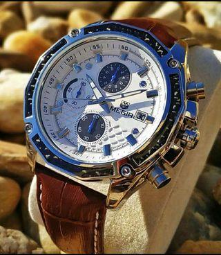 Reloj hombre Cuartzo con cronógrafo plata blanco NUEVOS Rf: 241