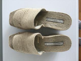 Sandalias de plataforma yute Zara