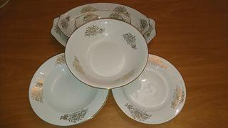 Vajilla vintage porcelana 12 piezas motivo dorado