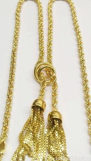 Gargantilla cordon en oro amarillo 18 kts. flecos