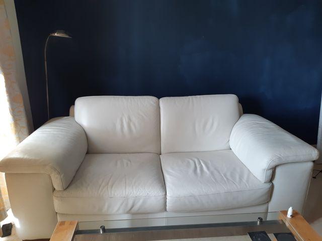 sofá dos plazas natuzzi cuero crudo
